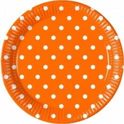 Πιάτα Πορτοκαλί Πουά Μεγάλα