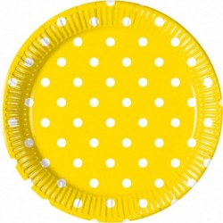 Πιάτα Κίτρινα Πουά Μεσαία